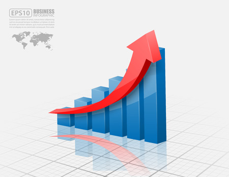 growth arrow: Vector illustration of 3d graph