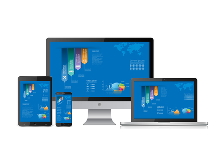 Computer statistics vector with laptop, tablet and smartphone Vector