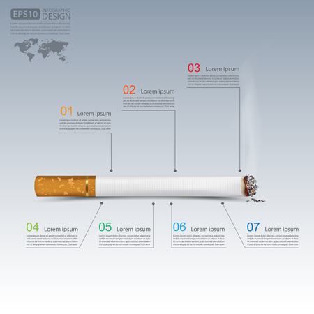 nicotine patch: Cigarettes infographics,vector