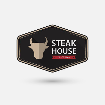 pork meat: Steak House retro vintage Label.vector Illustration