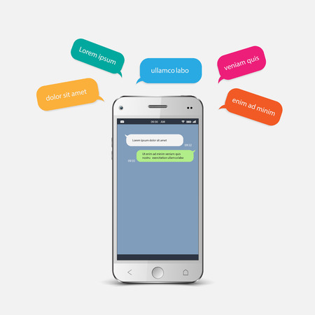 bubbles vector: Smartphone chatting sms template bubbles. vector
