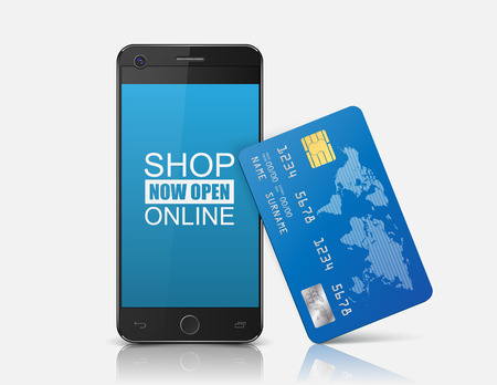 e card: Internet shopping concept smartphone with credit card.vector Illustration