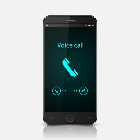 Smartphone with incoming call on display,vector Vector