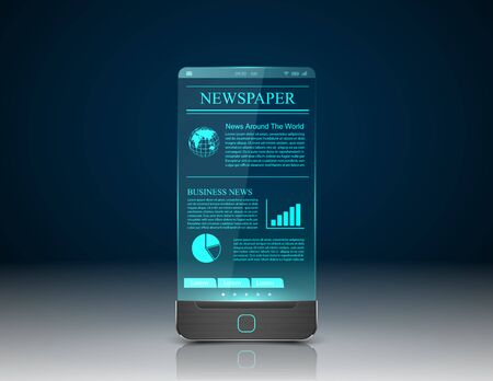 news paper: Newspaper with smart phone.vector