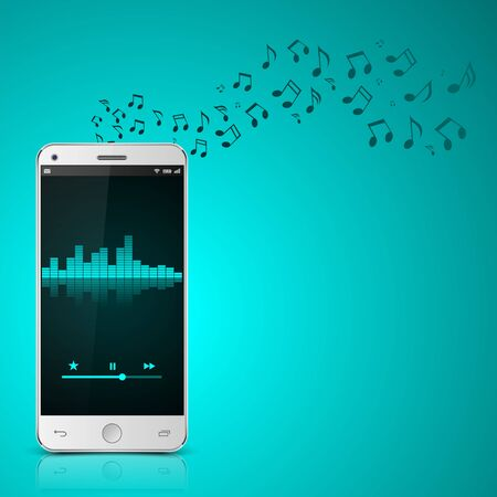 letras musicales: Smartphone con notes.vector música