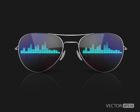 sunglasses reflection: The reflection of blue music equalizer on sunglasses,vector