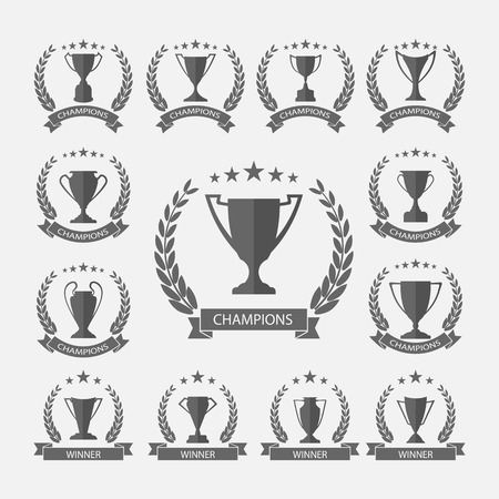 trophy winner: Trophy and awards,vector