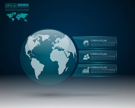 information systems: Modern infographic design with world map,vector