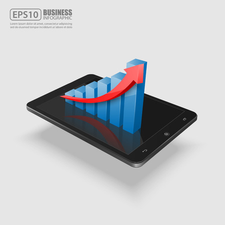 smartphone business: smartphone with business graph.vector Illustration