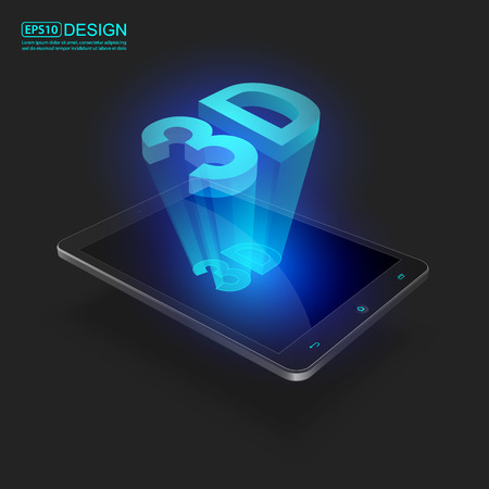 smartdigital: Futuristic Mobile Phones with Holographic 3D word vector Illustration
