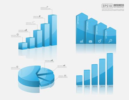 achievement charts: Set of vector 3d graph vector Illustration