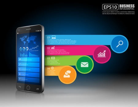 phonographic: Infographic with a touch screen smartphone