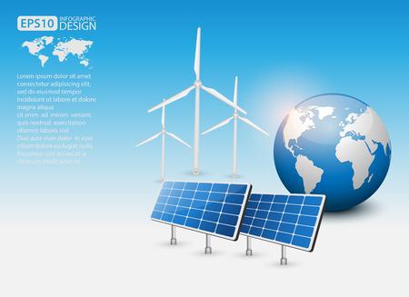 energia solar: Concepto verde de la energía con panel solar y el vector de la Tierra