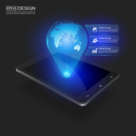 Smart Phones and Globe Connections Design.vector Vector