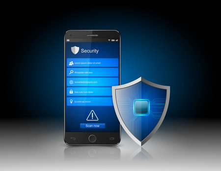 virus: Smartphone protection Smartphone with shield.vector