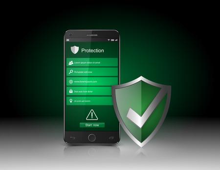 caja fuerte: Smartphone con escudo de seguridad vector