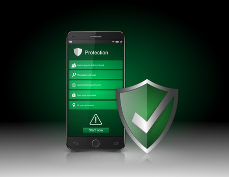 3d shield: Smartphone with Security shield vector