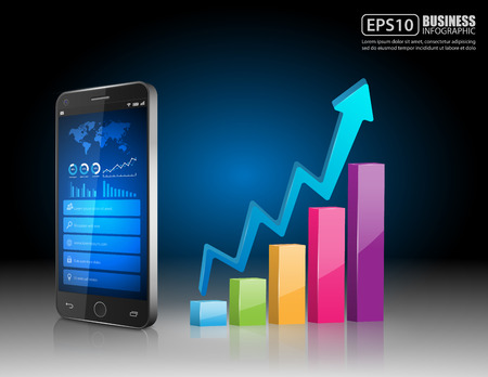 Smartphone with business graph.vector Vector