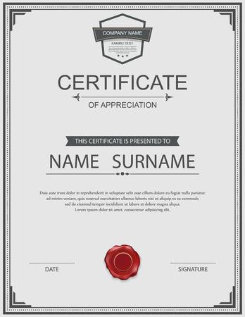 art frame: Vector certificate template. Illustration