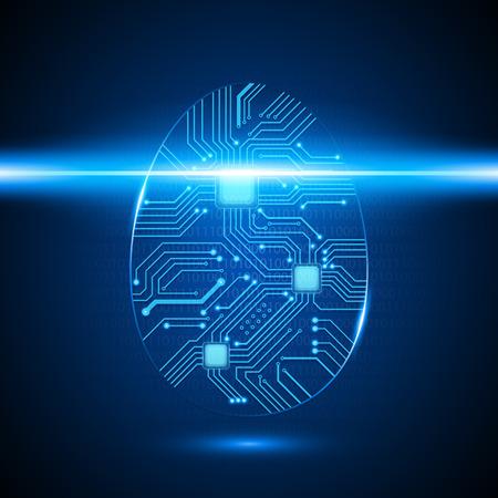 dedo: Vector Circuit Board Fingerprint