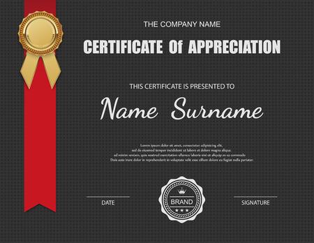 appreciation: Vector certificate template. Illustration
