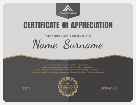 certificate  calligraphy: Vector certificate template. Illustration