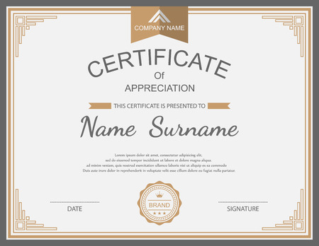 vector ornaments: Vector certificate template. Illustration