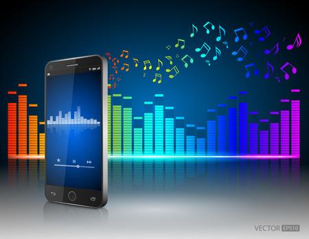 letras musicales: Smartphone con notas musicales Equalizervector Digital