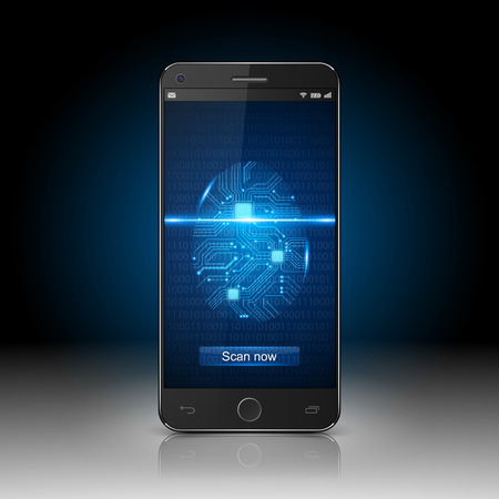 Smartphone with finger scan vector