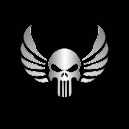 skull vector: Skull with Wings Vector Illustration Stock Photo