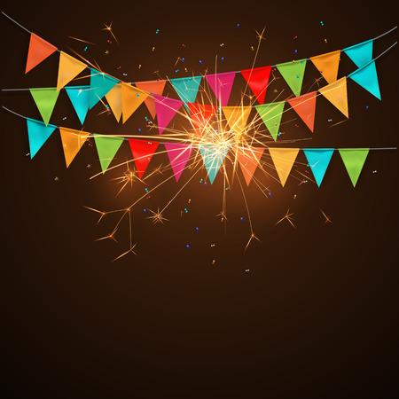 sparkler: Festive background with flagssparklers.vector