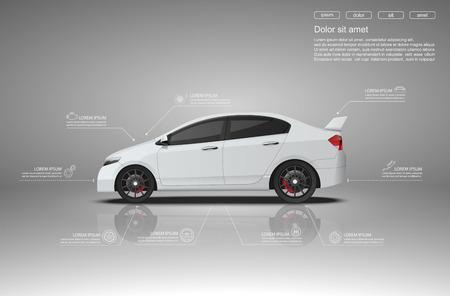 coche: Alquiler de auto servicio infografía design.vector Vectores