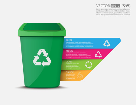 Recycle bins infographic.vector