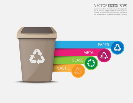 recycle reduce reuse: Las papeleras de reciclaje infographic.vector
