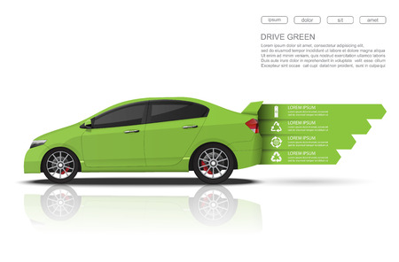 Green car concept Car infographics design.vector