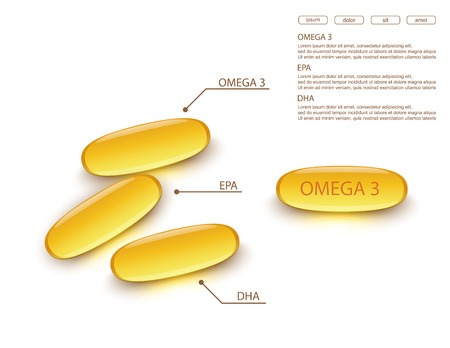 fish oil on white background.vector Illustration