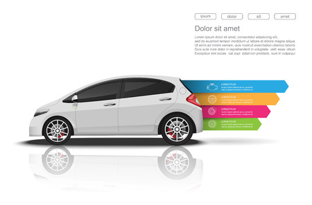 vehicle part: Car infographics design.vector