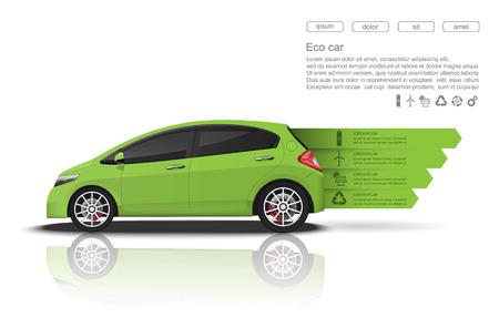 ecological: Green car concept Car infographics design.vector