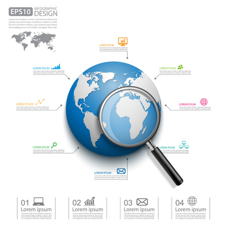 global background: Modern infographic global template with Magnifying Glass,Vector