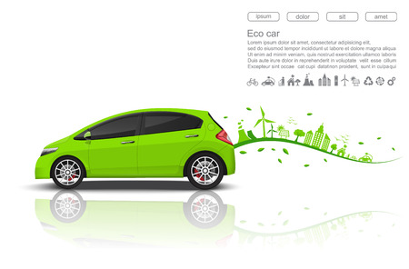 greenhouse and ecology: ECO car concept.vector