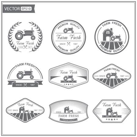 logos restaurantes: Conjunto de etiquetas retro frescos de granja, vector