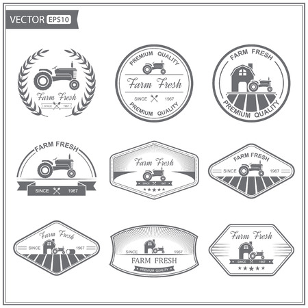 Set of retro farm fresh labels,vector Çizim