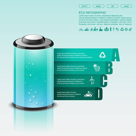 recycle symbol vector: Eco infographic made of battery,vector Illustration