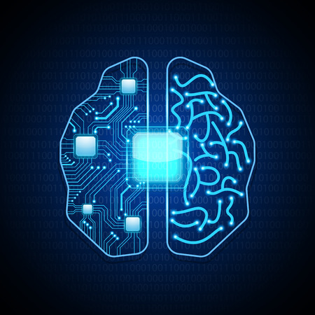 brains: Brain with circuit board texture.vector