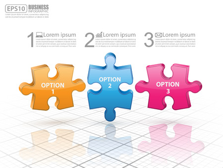 colorful abstract background: 3d puzzle presentation infographic template.vector