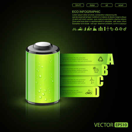 solar battery: Eco infographic made of battery