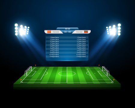 soccer ball on grass: Soccer field  Illustration
