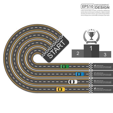 racing sign: Car racing Info graphic Design Template Illustration