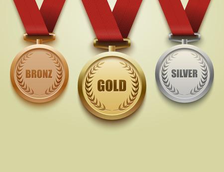 oro: Conjunto de medallas de oro, plata y bronce