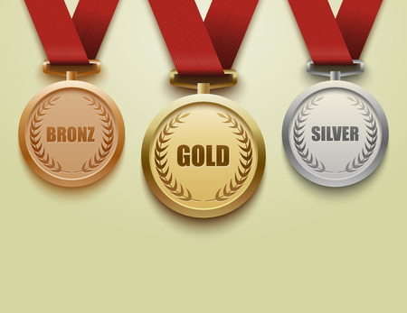 gold silver bronze: Set of gold, silver and bronze medals